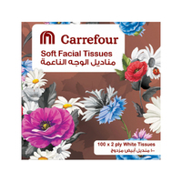 Carrefour Soft Facial Tissues Classic Turquoise Cube 100s