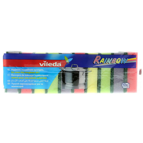 Vileda-Rainbow-Dish-Washing-Medium-Foam-Sponge-Scourer-10Pcs