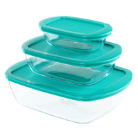 Pyrex Rectangle Baking Dish With Lid Set Of 3 Pcs 2.6L+1.1L+0.35L