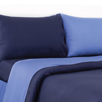 Tendance Full Comforter 4pc Set Light Blue/Dark Blue