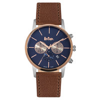 Lee Cooper Men's Multi-Function Silver Case Brown Leather Strap Blue Dial -LC06342.490