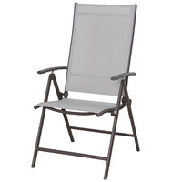 Steel Textline Folding Chair Brown Beige Frame W57xD67cm