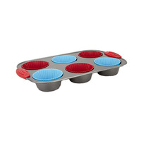 Muffin Pan With 6 Silicone Cupcake Mould