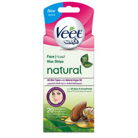Veet Natural Face Wax Strips With Argan Oil 20's