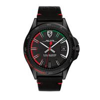 Scuderia Ferrari Men's Watch Pilota Analog Black Dial Black Leather Band 42mm Case