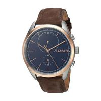 Lacoste Men's Watch San Diego Analog Blue Dial Brown Leather Band 44mm  Case