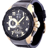 Tornado Men 's Watch Chronograph Display Black Dial Black Genuine Leather Strap - T6104-GLBB