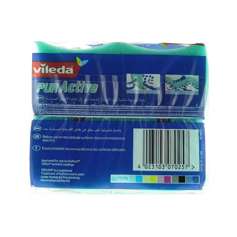 Vileda-Pure-Active-Flex-Non-Scratch-Dish-Washing-Sponge-Scourer-2Pcs