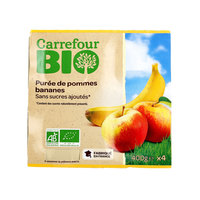 Carrefour Bio Organic Apple Banana Sauce No Added Sugar 100g X4