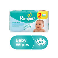 Pampers Fresh Clean Baby Wipes Dual Pack 128 Count