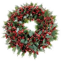 Wreath Tinsel Deco Green Leaves And Red Loops 40Cm