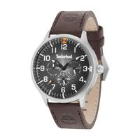 Timberland Men's Watch Blanchard Analog Black Dial Brown Leather Band 45mm Case