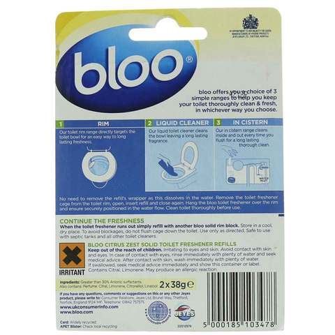 Bloo-Citrus-Zest-Anti-Bac-Cage-Refills-40g