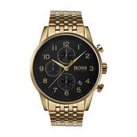 Hugo Boss Men's Watch NAVTR Analog Black  Dial Gold  Metal  Band 44mm  Case