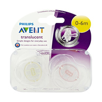 Philips Avent Translucent Soothers X2 0-6 Months