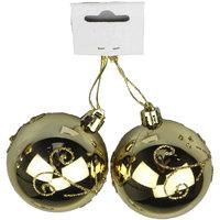 Balls Shiny Plated 6Cm 2Pcs Gold
