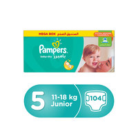 Pampers Baby-Dry Diapers Size 5 Junior 11-18 kg Mega Box 104 Count