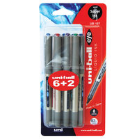 Uniball Eye Fine R/Pen Assorted 157 6+2