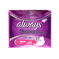 Always Diamond Ultra Sanitary Pads With Wings, Long, 8 Count