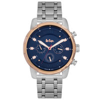 Lee Cooper Men's Multi-Function Silver Case Silver/Rose Gold Super Metal Strap Blue Dial -LC06192.590