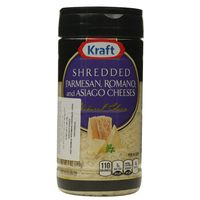 Kraft Shredded Parmesan, Romano, And Asiago Cheeses 198g