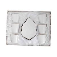 Coffee Set White Leaf Plate 12 Pieces