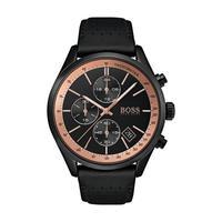 Hugo Boss Men's Watch GRAND Analog Black Dial Black  Leather Band 44mm  Case