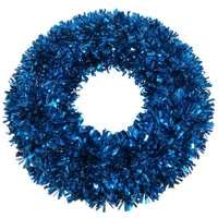 Wreath Tinsel Deco Shiny Blue 40Cm