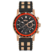 Lee Cooper Men's Multi-Function Gold Case Black Resin Strap Black Dial -LC06167.851