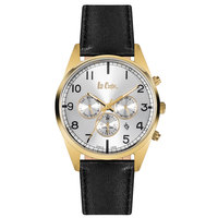 Lee Cooper Men's Multi-Function Gold Case Black Leather Strap Silver Dial -LC06314.432