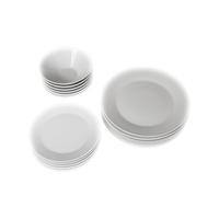 طقم مستلزمات مائدة دائرية من البورسلان بنقشة فنية 18 قطعة