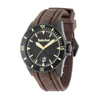 Timberland Men's Watch Boylston Analog Black Dial Brown Silicone Band 46mm Case