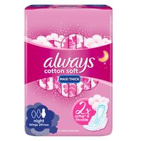 Always Soft Maxi Thick, Night sanitary pads with wings, 24 count
