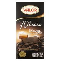 Valor 70% Cacao Dark Chocolate with Caramel & Sea Salt 100g