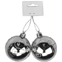 Balls Shiny Plated 6Cm 2Pcs Silver