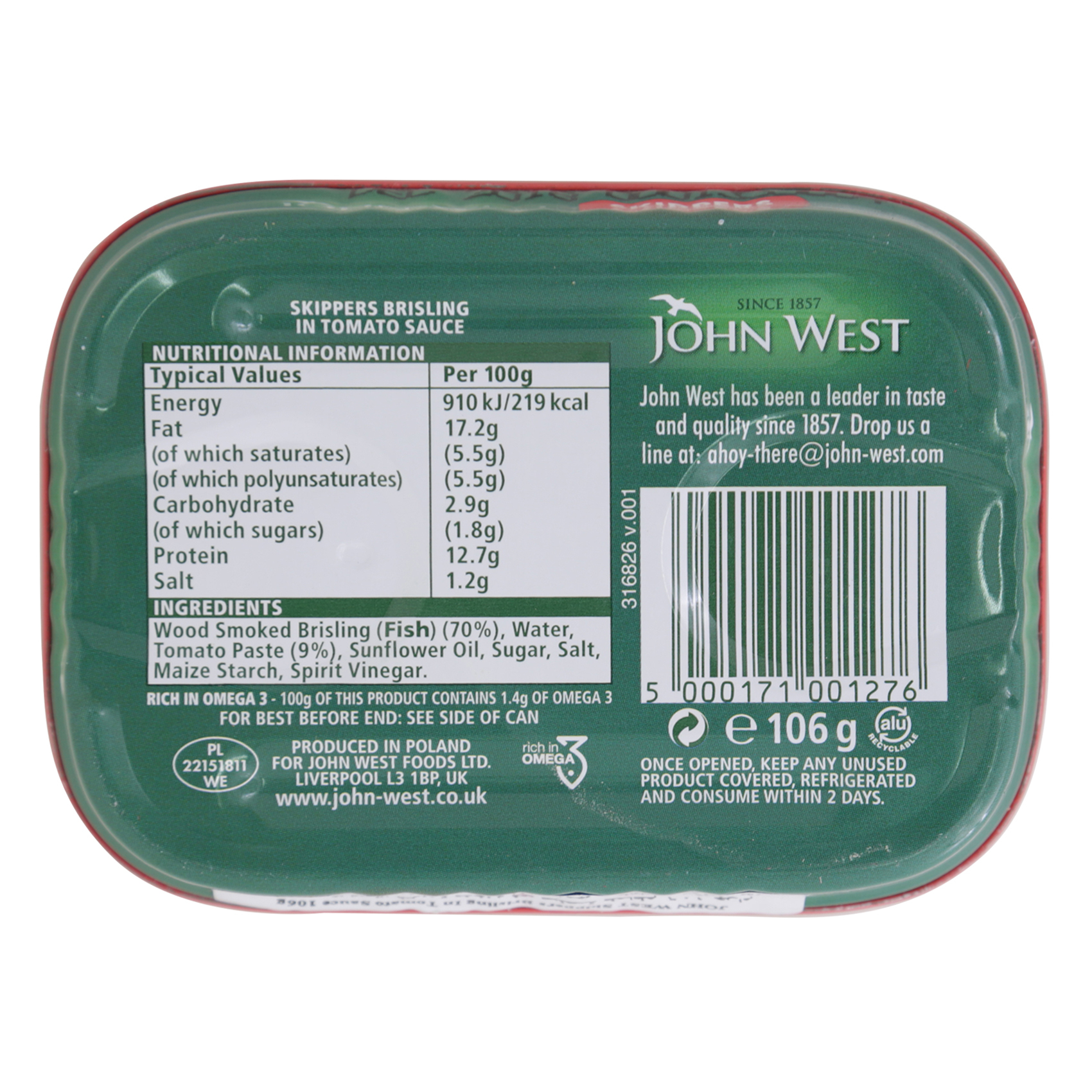 JOHN WEST SKIPPERS IN TOMATO 106G