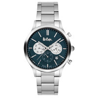 Lee Cooper Men's Multi-Function Silver Case Silver Super Metal Strap Blue Dial -LC06295.370