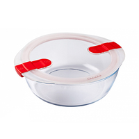 Pyrex Glass Round Dish With Vented Lid 2.3L