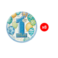 Plate First Birthday Blue 17.7CM 8 Pieces