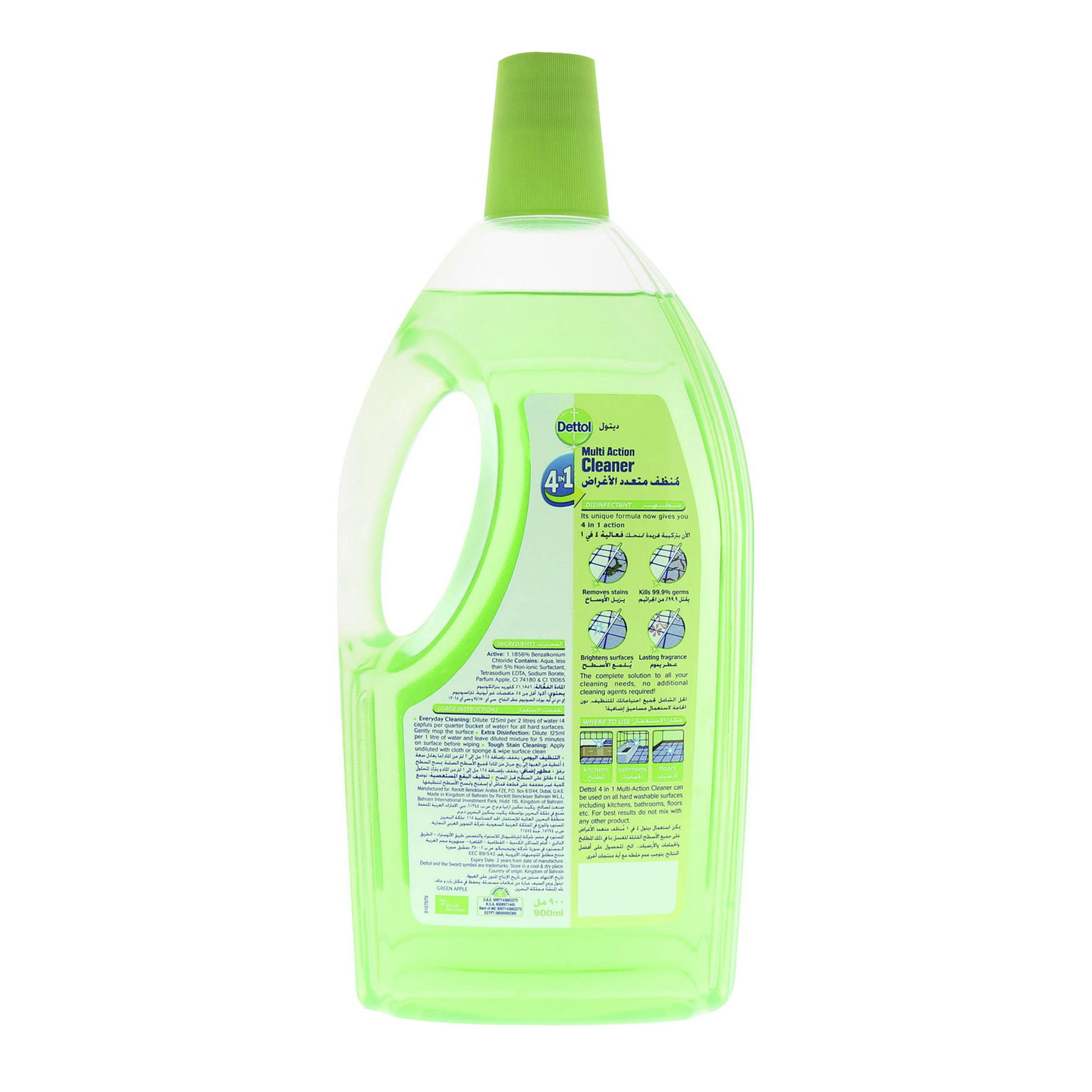 DETTOL MAC 4N1 GREEN APPLE 900ML