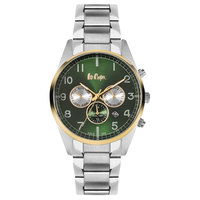Lee Cooper Men's Multi-Function Silver Case Silver Super Metal Strap Green Dial -LC06313.530