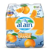 Al Ain Bottled Drinking Water with a Hint of Orange 500mlX6
