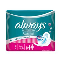 Always Ladies Pads Ultra Thin Long With Wings 8 Napkins