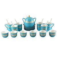 Porcelain Tea And Coffee Set Gold & Blue 26Pcs
