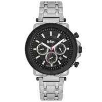 Lee Cooper Men's Multi-Function Silver Case Silver Super Metal Strap Black Dial -LC06183.350