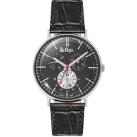 Lee Cooper Men's Multi-Function Silver Case Black Leather Strap Black Dial -LC06383.399