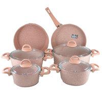 Cooking Set Granite Pink 10Pcs