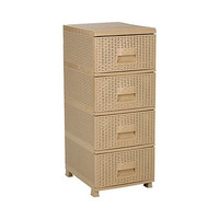 Rattan Commode With 4 Drawers