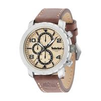 Timberland Men's Watch Norwood Analog Cream Dial Brown Leather Band 48mm Case
