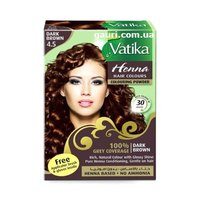 Vatika Henna Natural Colour With Glossy Shine Pure Conditioning Dark Brown 4/5 10Gx6